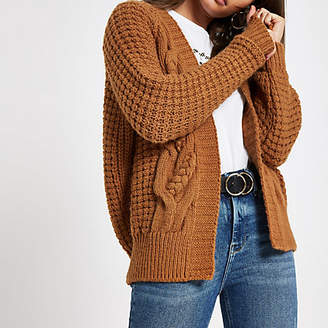 River Island Brown cable knit cardigan