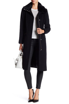 Andrew Marc Claudia Genuine Rabbit Fur Wool Blend Coat $795 thestylecure.com