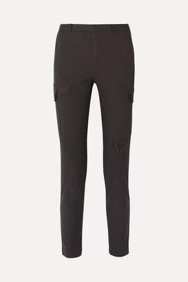 ATM Anthony Thomas Melillo Cropped Distressed Stretch-cotton Slim-leg Pants - Gray