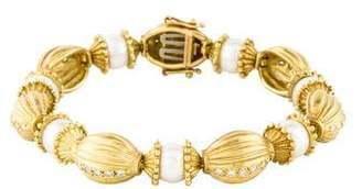 Doris Panos 18K Pearl & Diamond Link Bracelet