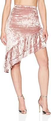 Velvet Rope Women's Ice Velvet Asymmetric Ruffle Midi Skirt
