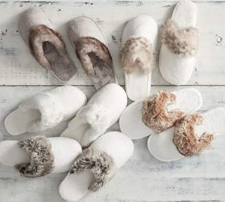 Pottery Barn Faux Fur Slippers