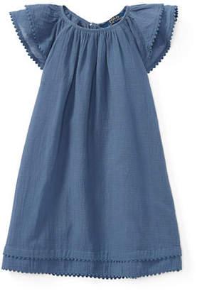 Ralph Lauren Flutter-Sleeve Cotton Dress