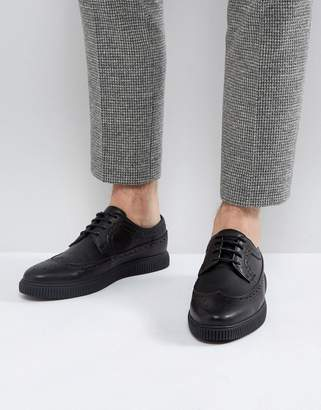 Asos Design Creeper Brogue Shoes In Black Faux Leather