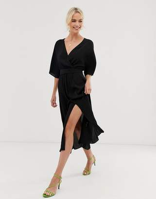 And other stories & V-neck midi wrap dress with front slit in black