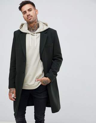 Asos DESIGN wool mix overcoat in dark green