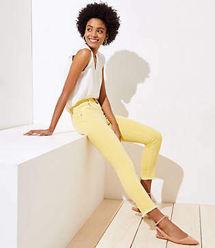 LOFT Petite Slim Pocket Skinny Crop Jeans in Yellow