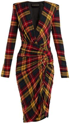 Alexandre Vauthier Asymmetric checked dress
