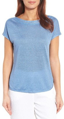 Women's Nic+Zoe Crochet Trim Linen Blend Top $118 thestylecure.com