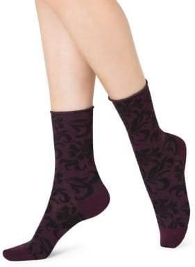 Bleu Foret Women's Carnation-Print Crew Socks