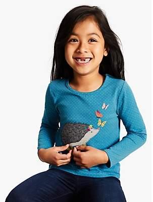 John Lewis & Partners Girls' Applique Hedgehog T-Shirt, Teal