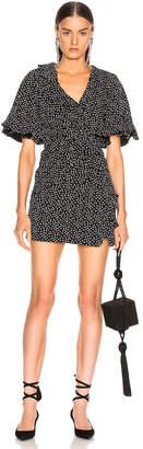 Jonathan Simkhai Speckle Print Flutter Sleeve Dress in Black & White Print | FWRD