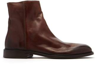 Paul Smith Billy Zipped Leather Boots - Mens - Brown