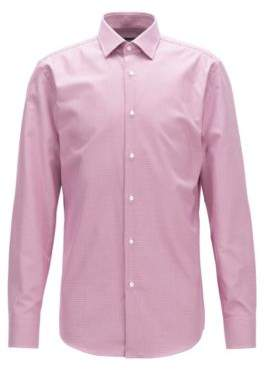BOSS Hugo Puppytooth Cotton Dress Shirt, Slim Fit Jenno 18 Dark pink