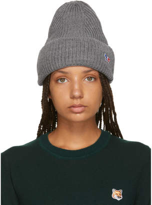 MAISON KITSUNÉ Grey Tricolor Fox Ribbed Beanie