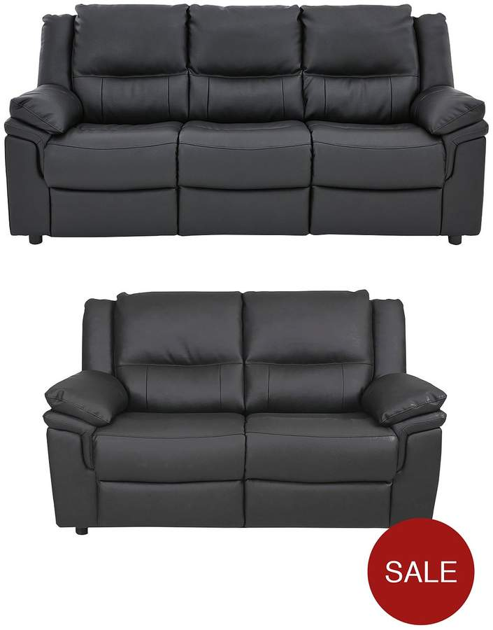 Albion Luxury Faux Leather 3 Seater + 2 Seater Sofa Set