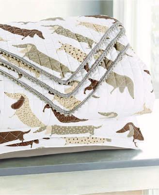 Sleeping Partners International. Inc Dachshund Dog Pompom Trimmed Quilt and Pillow Shams, 3 Piece Set Bedding