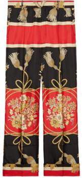 Gucci Silk pant with flowers and tassels