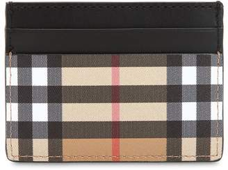 Burberry Check Cotton & Leather Card Holder