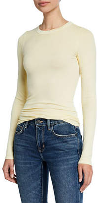 Enza Costa Ribbed Fitted Long-Sleeve Crewneck Sweater