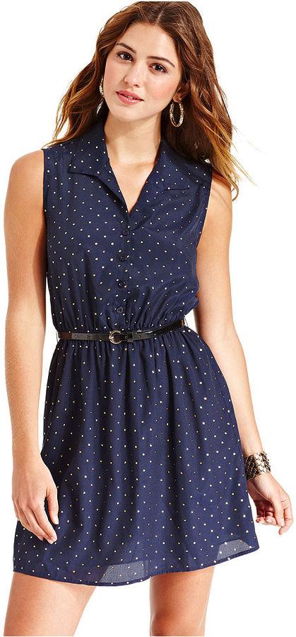 Be Bop BeBop Juniors Dress, Sleeveless Polka-Dot Belted Shirtdress