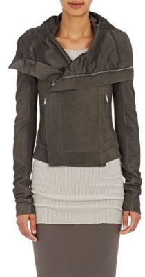 Rick Owens Women's Blistered-Leather Classic Biker Jacket-DARK GREY $2,390 thestylecure.com