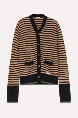 BLOUSE - Crush Striped Wool-blend Cardigan - Camel
