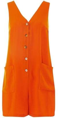 Dorothy Perkins Womens Orange Tortoiseshell-Button Playsuit