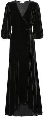 Ganni Silk-blend velvet wrap dress