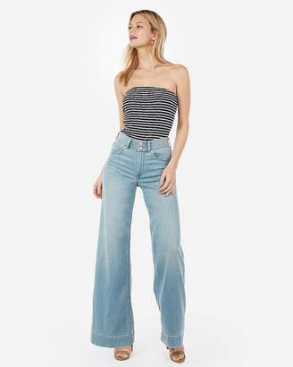 Express Striped Ribbed Tube Top
