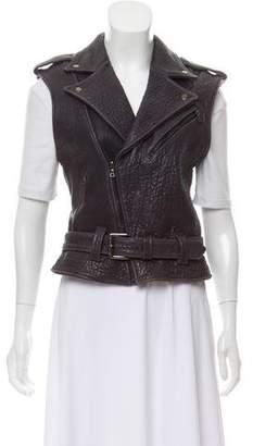Zac Posen Leather Moto Vest