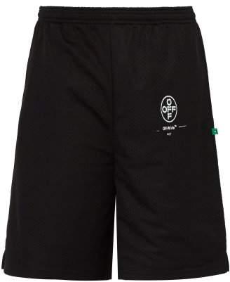 Off-White Off White Spray Paint Logo Mid Rise Shorts - Mens - Black