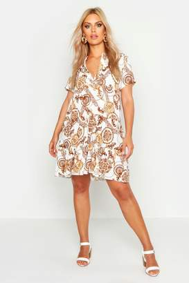 boohoo Plus Chain Short Sleeve Tiered Smock Dress