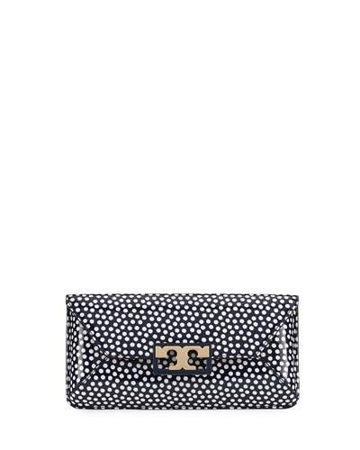 Tory Burch Tory Burch Gigi Polka-Dot Patent Clutch Bag, Blue/White