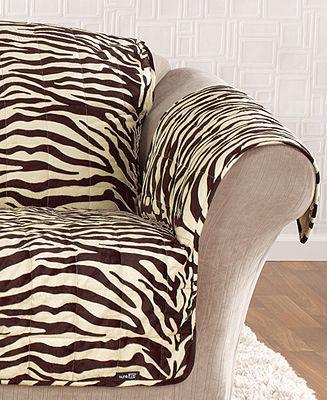 Sure Fit Velvet Zebra Pet Sofa Slipcover Throw