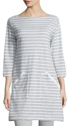 Joan Vass Striped Interlock Tunic, Gray/White, Petite