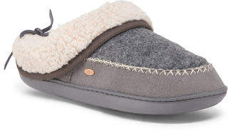 Slippers With Faux Sherpa Lining