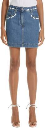 Moschino Dotted Line Denim Miniskirt