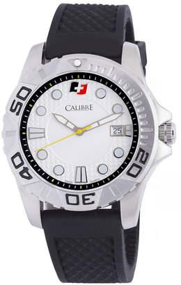 Calibre 42mm Men's Akron Watch w/ Rubber Strap, White