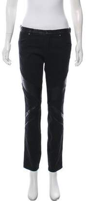 Blank NYC Leather-Accented Mid-Rise Skinny Jeans
