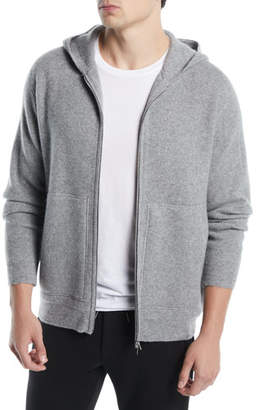 Theory Alcos HD Zip Pebble Heather Cashmere Hoodie Sweater