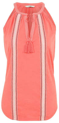George Pink High Neck Embroidered Camisole Top