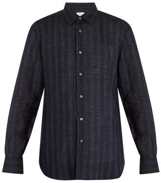 Brioni - Single Cuff Striped Linen Shirt - Mens - Navy