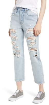 Levi's Wedgie High Waist Ripped Straight Jeans