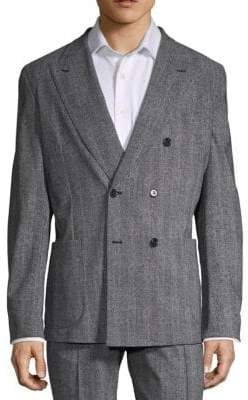 Stretch Double-Breasted Herringbone Blazer