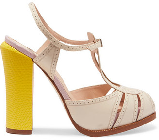 Fendi - Leather And Lizard-effect Mary Jane Sandals - Neutral $950 thestylecure.com