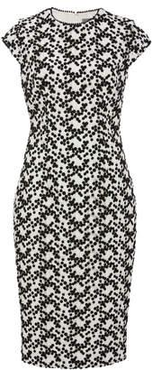 Lela Rose Embellished Lace Overlay Crepe Midi Dress