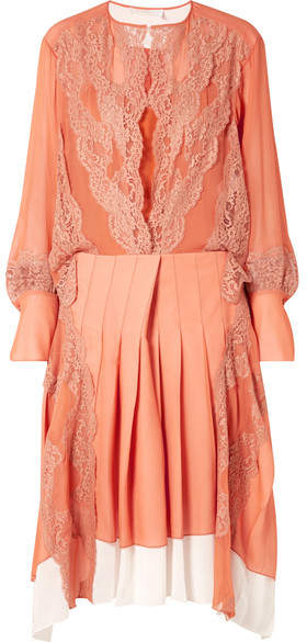 Lace-trimmed Mousseline And Pleated Crepe Midi Dress - Orange