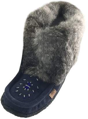 Muk Luks Laurentian Chief Tsar Short Rabbit Fur Beaded Suede Mukluks
