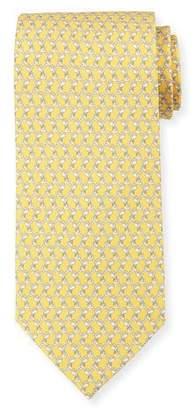 Salvatore Ferragamo Dog-Print Silk Twill Tie, Yellow